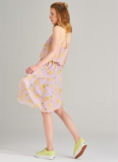 Agenda Limon Desenli Elbise Lila